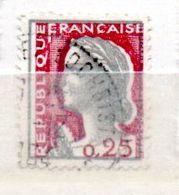 FRANCE N° 1263 0.25 GRIS CLAIR ET CARMIN FONCE CADRE DEBORDANT DU TIMBRE - Errors & Oddities