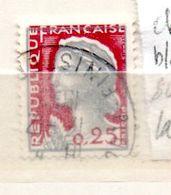 FRANCE N° 1263 0.25 GRIS CLAIR ET CARMIN FONCE CHEVEUX BLANCS SUR TOUTE LA TETE OBL - Errors & Oddities