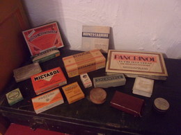 BEL ENSEMBLE DE 16 BOITES ANCIENNES MEDICAMENTS PHARMACIE BEL ETAT POUR DECO - Boxes
