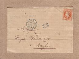 """ITALIE - LETTRE POUR MESSINE  , CACHET """" LIGNE V  PAQ. FR. N°2 """" , CERES + ANCRE , PD - 1869 - Poste Maritime"""