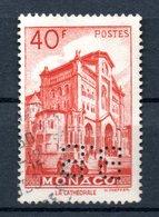 MONACO -- Timbre Perforé Perfin Luchung --  40 Francs Rouge Cathédrale De Monaco --  B B   - 15 15  Indice 4 - Variétés