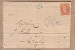 """ITALIE - LETTRE POUR MESSINE  , CACHET BLEU """" LIGNE U  PAQ. FR. N°3 """" , CERES + ANCRE , PP , PD - 1869 - Poste Maritime"""