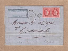 """TURQUIE - LETTRE DE MARSEILLE A CONSTANTINOPLE CACHET """" LIGNE U PAQ. FR. N°4 """" , PAIRE DE 80 C EMPIRE , PD - 1872 - Poste Maritime"""