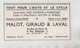 Vichy  Malot Giraud Laval Auto Cycle Unic Salomon Salmson Rosengart Alcyon Boréal Pfaff Gody - Publicités