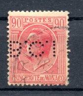 MONACO -- Timbre Perforé Perfin Luchung --  90 C. Rose S.paille  Prince LOUIS II  --  B C I  - 14 11 5  Indice 4 - Variétés