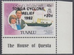 Tuvalu 1982 - Tonga Cyclone Relief, ERROR: Double Overprint And Surcharge - Mi 161 ** MNH - Tuvalu