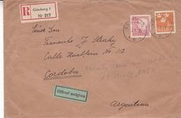 SUEDE ENVELOPE CIRCULEE DE GOTEBORG A CORDOBA, ARGENTINE ANNEE 1958 RECOMMANDE -LILHU - Suède