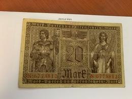Germany 20 Mark Banknote 1918 - [ 3] 1918-1933: Weimarrepubliek