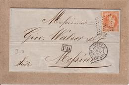 """ITALIE - LETTRE POUR MESSINE  , CACHET """" LIGNE U  PAQ. FR. N°2 """" , CERES + ANCRE , PD - 1869 - Poste Maritime"""