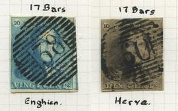 Verzameling Epauletten OBP 1 (15 Ex + 1 Paar)  En 2 (15 Ex) Gebruikt. Oa Met Enghien, Herve, Wetteren, Beauraing Etc. - 1849 Epaulettes
