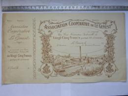 Association Coopérative De Le Genest, Souscription Part Nominative 25 Francs (6% D'intérêt) Imp. 53 Laval 1919 1938 - Actions & Titres