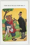 "2How Far Is The Old Stump Inn...?"" Humorous Eglish Postcard 1940s - Humour"