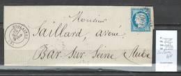 France - Lettre- GC 3450 - SOULAINES  - Aube -1875 - 1849-1876: Période Classique