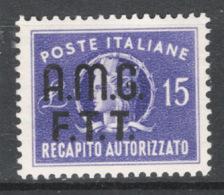Trieste A 1949 Recapito Sass.Rec.3 */MVLH VF/F - 7. Trieste