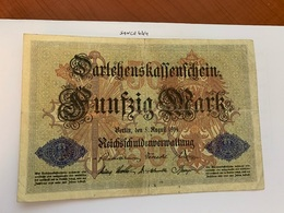Germany 50 Marks Darlehnskassenschein 1914 - 50 Mark