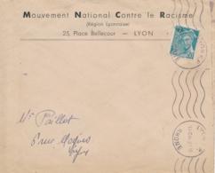 """Mercure Liberation RF Obl LYON RHÔNE Lettre En-tête """" MOUVEMENT NATIONAL CONTRE LE RACISME """" - Marcophilie (Lettres)"""