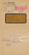 """Etiquette """" LA MAISON EST DETRUITE """" + """" Haus Zerstört + Marques De Retour Sur Lettre Obl GANDON 6f Bande De 3 - 1948 - Guerre De 1939-45"""