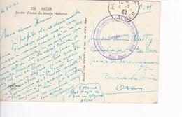 Sur Carte De Alger Cachet Commandement Supérieur Allié En Afrique Du Nord Etat Major 1942 - Storia Postale