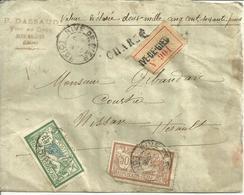ENVELOPPE VD CHARGE P DASSAUD VINS EN GROS 42 RIVE DE GIER / TIMBRES MERSON ET CACHETS DE CIRE - Marcophilie (Lettres)