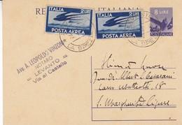 ITALIE ENTIER CIRCULEE DE LEVANTO VIA AL CASTELLO, ANNEE 1948 PAR AVION -LILHU - 6. 1946-.. Republik