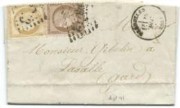 N° 55 & 58 CERES SUR LETTRE / PRADELLES HAUTE LOIRE POUR LASALLE / 1874 / ISSANLAS - 1849-1876: Periodo Clásico