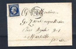 JOLI N° 14 BLEU/NOIR SUR LETTRE - 1853-1860 Napoleone III