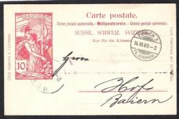 SCHWEIZ Postal Stationery Postkarte Mi. P 33 Versanden 1900 ZÜRICH 2 Fil. Seidengasse > Hof (D) - Entiers Postaux