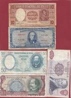 Chili 5 Billets Dans L 'état - Chile