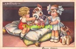 CPA ILLUSTRATEUR A. BERTIGLIA ARTIST SIGNED  FILLE CHIEN GIRL DOG - Bertiglia, A.