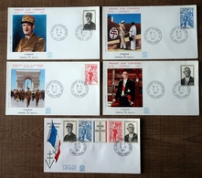 """5 Lettres Premier Jour Du """"Général De Gaulle"""" Oblitération Colombey Les Deux églises, 1971 - 1970-1979"""