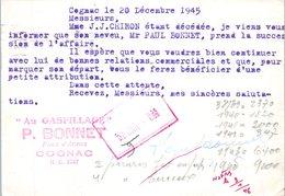 """16 COGNAC- P. Bonnet """"Au Gaspillage""""  Entiers Postaux - Année 1945 - Cognac"""