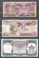 Lot De 3 Billets Du Ghana 10 - 50 Et 500 Cedis - Ghana