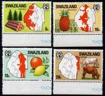 Swaziland 1977, Scott 289-292, MNH, Products, Map - Swaziland (1968-...)