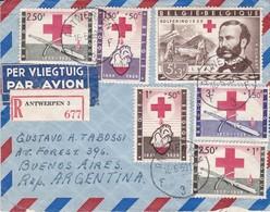 BELGIQUE ENVELOPE CIRCULEE ANTWERPEN A BUENOS AIRES, ARGENTINE ANNEE 1959 PAR AVION RECOMMANDE -LILHU - Belgique