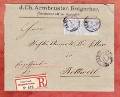 Einschreiben Reco, 2. Gewichtstufe, Ziffer Im Paar, Roethenbach, Alpirsbach Nach Rottweil 1886 (93779) - Wurttemberg