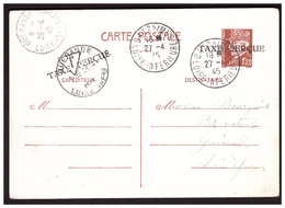 Carte Postale De BATZ Pour GUERANDE Poste Restante Du 27.4.45  Taxe Perçue Du 28.4.45. - Francia