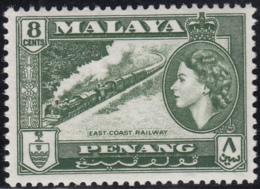 Malaya Penang 1957 MH Sc #49 8c East Coast Railway, Elizabeth II - Penang