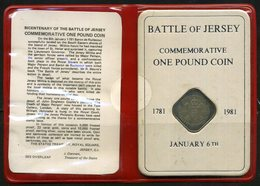 Jersey Pièce De One Pound Commémorative De La Bataile De Jersey 1781-1981 - Jersey