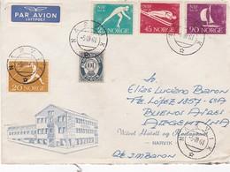 WIVEL HOTELL AG RESTAURANT.NORVEGE ENVELOPE CIRCULEE DE NARVIK A BUENOS AIRES, ARGENTINE ANNEE 1961 PAR AVION -LILHU - Covers & Documents