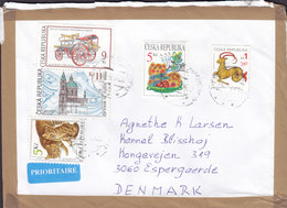 Czech Republic PRIORITAIRE Label BUDEJOVICE 2005? Cover Brief Denmark Astrology Kozoroh Cat Katze Chat Fire Engine - Lettres & Documents