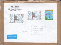 Czech Republic PRIORITAIRE Label BUDEJOVICE 2005? Cover Brief Denmark Internationales Jahr Dialog St. Nikolaus Kirche - Lettres & Documents
