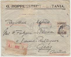 NEDERL. INDIE 1921 1 Gulden Auf Reko Express Brief BATAVIA Nach Graz - Indonesia