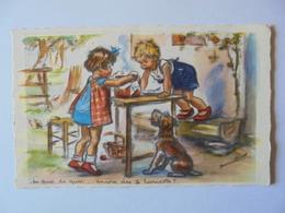 Cpa Carte Enfants Chien Germaine Bouret - Bouret, Germaine