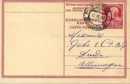 Mersina, Turquie Vers Allemagne 1909 Sur Entier Postal. Bureau Autrichien - Levant Autrichien