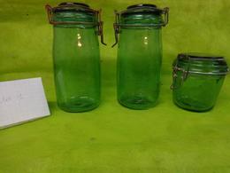 Lot De 3 Bocaux Vert - - Solidex  - Solidex 1 Litre- Durfor 500g - Dishware, Glassware, & Cutlery
