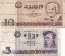 5 + 10 MARK DDR (!971, 1975) Banknoten, Umlaufscheine - [ 6] 1949-1990 : GDR - German Dem. Rep.