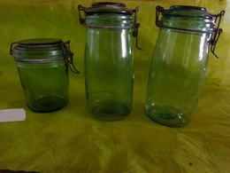 Lot 3 Bocaux Vert - -2  Solidex  1 Litre- Durfor  3/4 - Serviesgoed, Glazen & Bestek