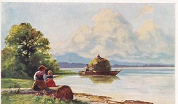 AK Künstlerkarte - Frau Mit Tochter Am See - Boot Mit Heu - Pfullingen 1913   (49844) - Altre Illustrazioni