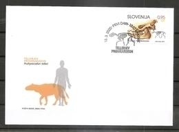 SLOVENIA 2020,,FOSSILS, MAMMALAS IN SLOVENIA,PROHYRACODON TELLERI,FDC - Fossils
