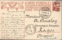 Suisse Entier Helvetia Inauguration Monument Commémoratif De 1909 UPU CAD Neuchatel 7 XI 09 Pour Lagos Southern Nigeria - Enteros Postales